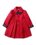 4b0797212573 dievčenský flaušový zimný kabát ANGELA červený