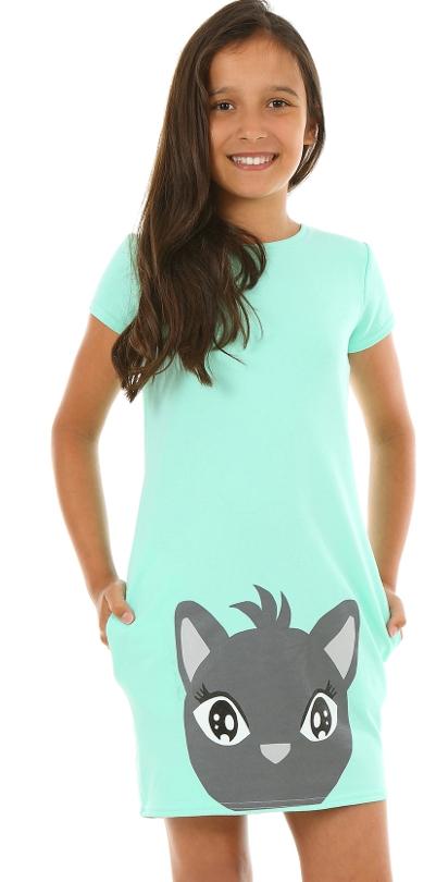 letné šaty pre dievčatá s mačkou ružové ac0a7b4765c