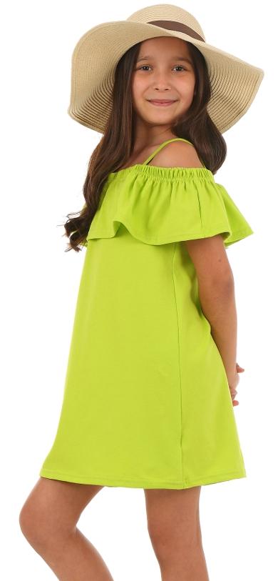 dievčenské letné šaty s volánom limetkové b2c1d25a89