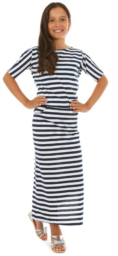 dievčenské letné dlhé šaty pruhované 057f899f09
