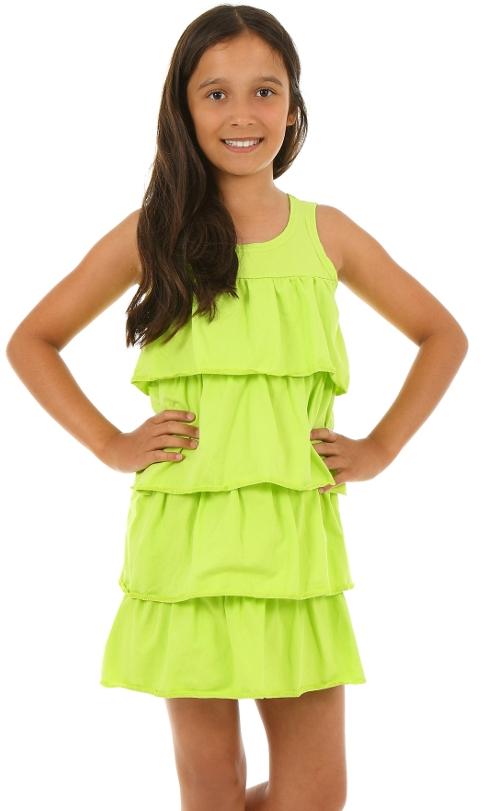 dievčenské letné volánové šaty limetka eee9b7b730