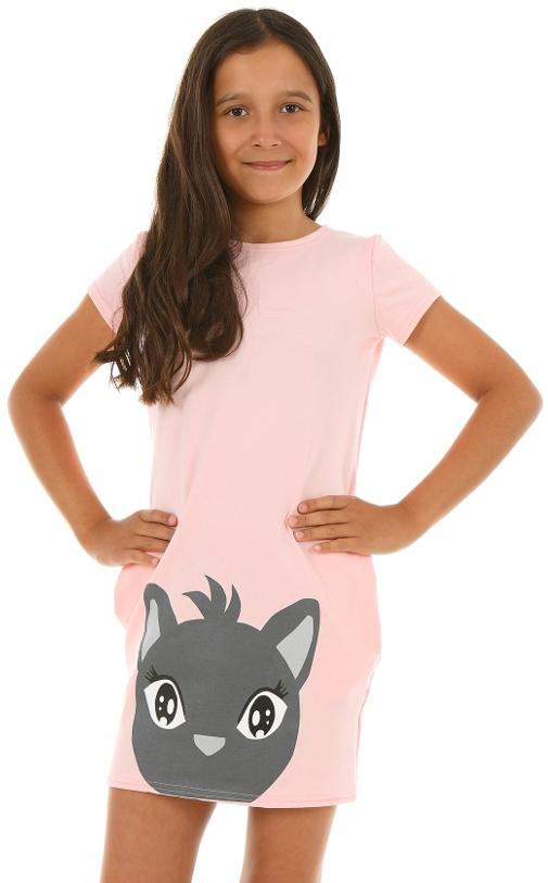 letné šaty pre dievčatá s mačkou ružová. farba púdrová ružová db288946a19