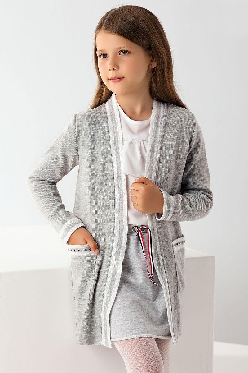 95241766bdb5 dievčenský pletený kardigan sivý