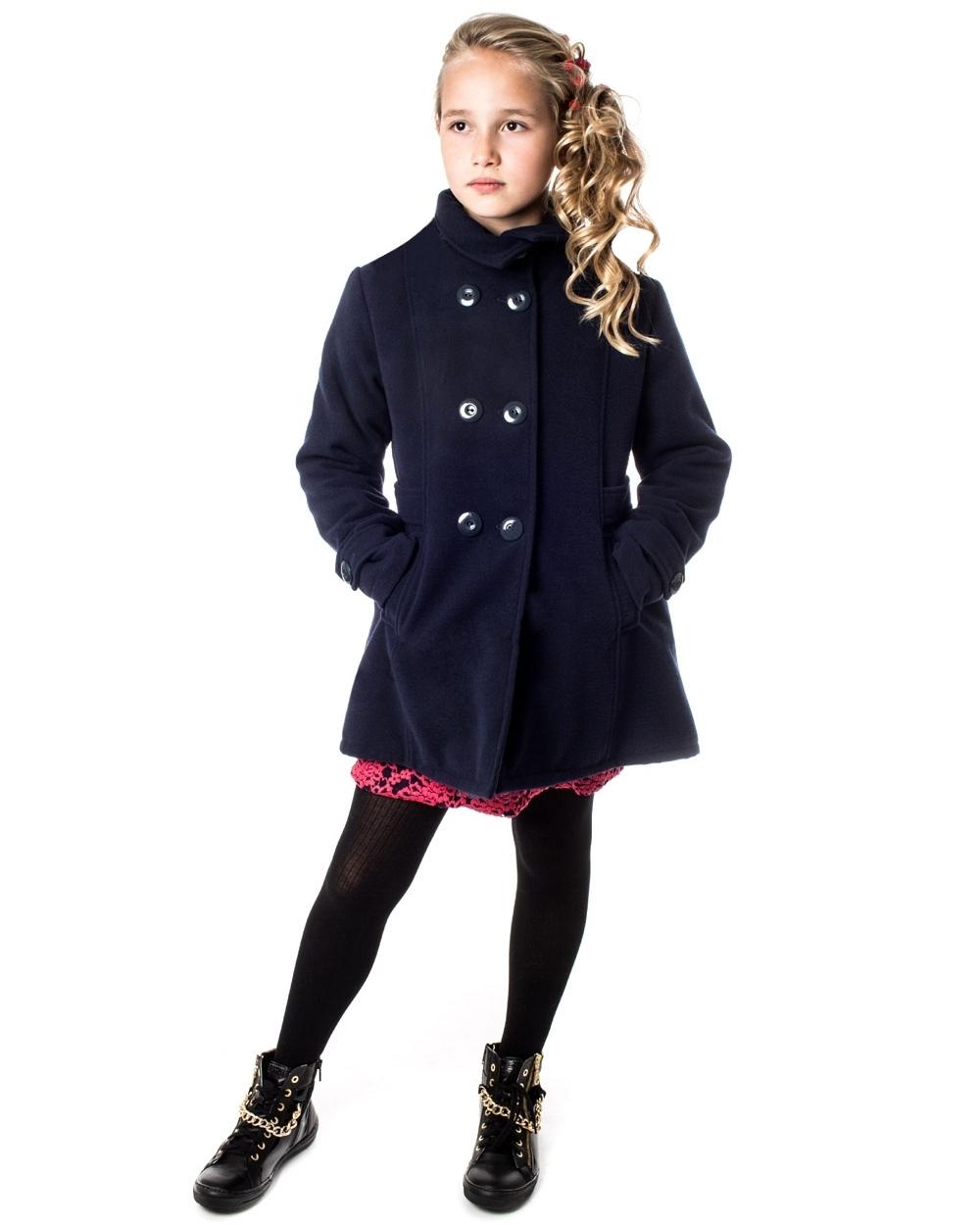 f4b504d5bca5 dievčenský flaušový zimný kabát ANGELA modrý