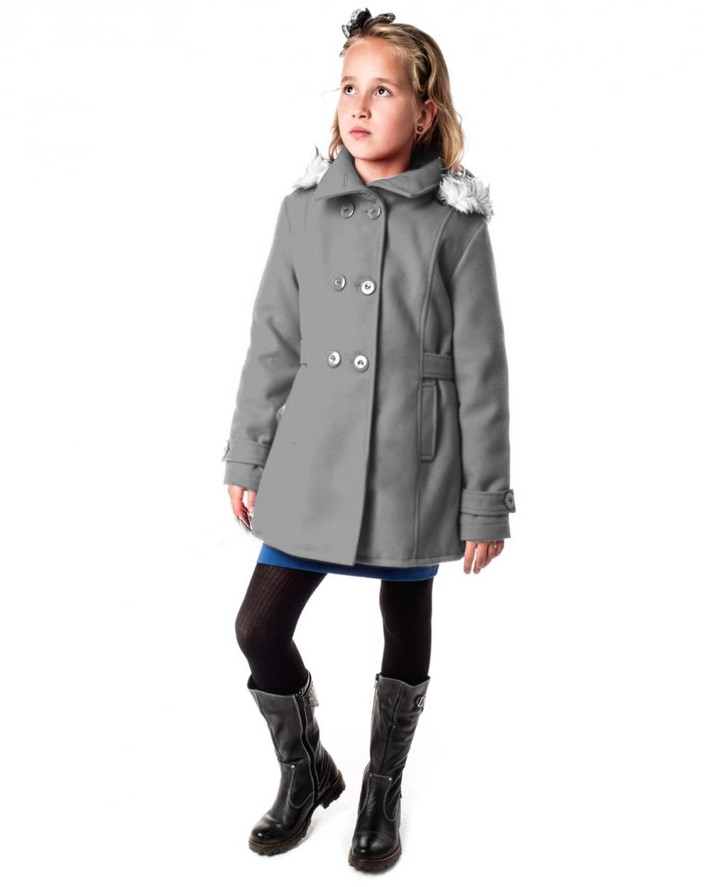 167d38e85865 dievčenský flaušový kabát ANGELA svetlosivá