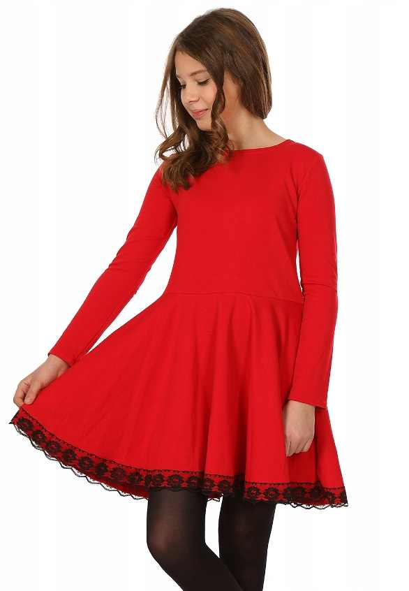 c439a58002a dievčenské šaty s krajkou. farba červená
