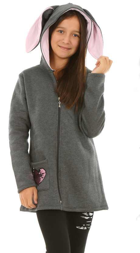dievčenská mikina s uškami sivá 9f0adb31064