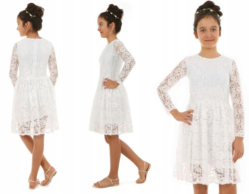 78ee219b98a0 dievčenské čipkované šaty biele