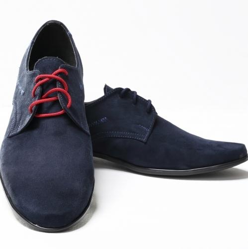 8a343277fd35 chlapčenské elegantné topánky semiš modrý