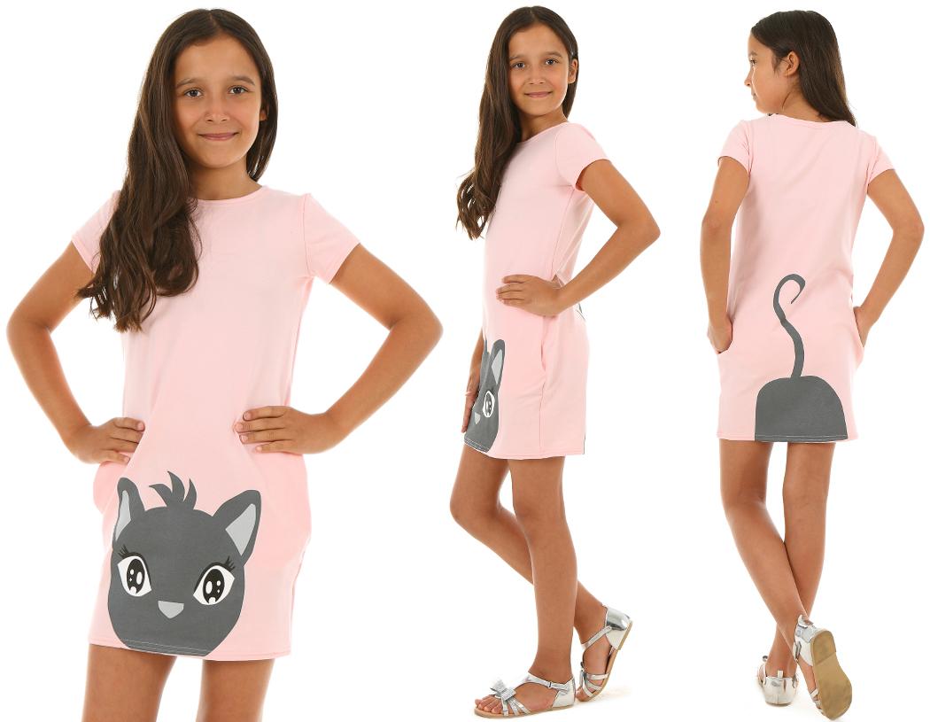 6cf57abe7e24 letné šaty pre dievčatá s mačkou ružová. skladom