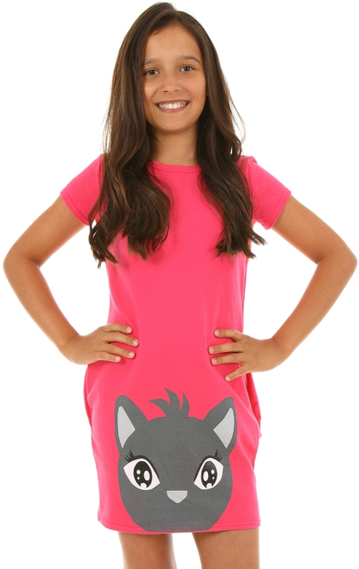 64105b7a499f letné šaty pre dievčatá s mačkou ružové