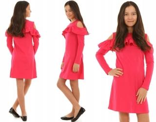 7aa8e71e0dec dievčenské šaty s dlhým rukávom malinové empty