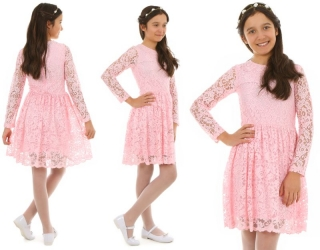 28026f84b988 dievčenské čipkované šaty ružové empty